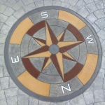 stamped concrete floor with wind rose