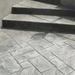 stairs and floor in stamped concrete